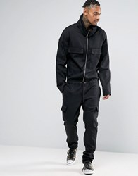Asos Boiler Suit With Shawl Collar In Washed Black Black Green