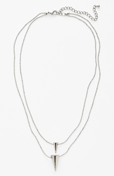 Double Spike Necklace Silver