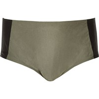 River Island Womens Ri Plus Khaki Colour Block Bikini Bottoms
