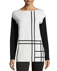 Paperwhite Colorblock Boat Neck Long Sleeve Blouse Black White