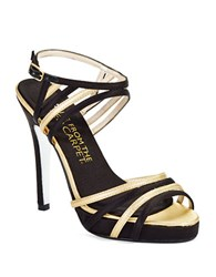 E Live From The Red Carpet Betty Peep Toe Stilettos Black Gold