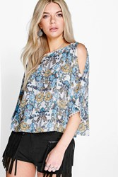 Boohoo Crochet Floral Open Shoulder Blouse White