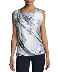 Armani Collezioni Drape Front Sleeveless Silk Shell Multi