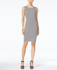 Tommy Hilfiger Sleeveless Knit Sheath Dress Black White