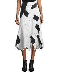 Derek Lam Woven Patchwork Midi Skirt Black White
