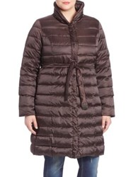 Marina Rinaldi Plus Size Belted Down Puffer Coat Brown