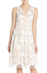 Women's Eliza J Embroidered Mesh Fit And Flare Dress