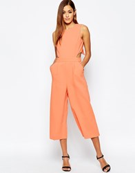 Asos Jumpsuit With Cut Out Cross Back And Wide Leg Coral Orange