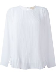 Michael Michael Kors Pleated Panel Sheer Blouse White