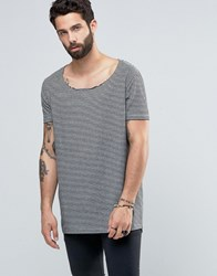 Asos Super Longline T Shirt With Scoop Neck And Curved Hem In Mini Stripe Grey Marl Black