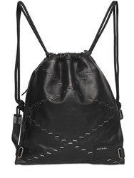 Diesel Staples Leather Drawstring Backpack
