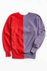 Urban Outfitters Vintage Champion Red Lavender Split Seam Crew Neck Sweatshirt