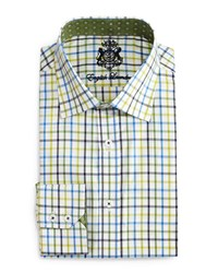 English Laundry Check Long Sleeve Dress Shirt Blue Lime