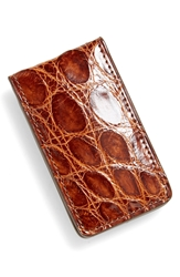 Boconi Crocodile Magnetic Money Clip Tan