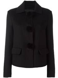Ermanno Scervino Pompom Detail Cropped Jacket Black