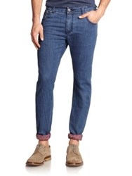 Isaia Paisley Cuffed Slim Fit Jeans Indigo