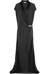 Brunello Cucinelli Wrap Effect Silk Crepe Gown Charcoal