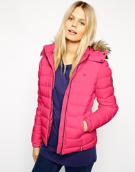 Tommy Hilfiger Hilfiger Denim Padded Jacket With Faux Fur Trimmed Hood Pink