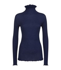 The Row Keyton Turtle Neck Ribbed Sweater Female Navy