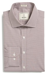 Todd Snyder Trim Fit Check Dress Shirt Chocolate
