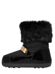 Giuseppe Zanotti 20Mm Rabbit Fur And Patent Leather Boots