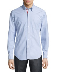 Thom Browne Long Sleeve Cotton Oxford Shirt Blue