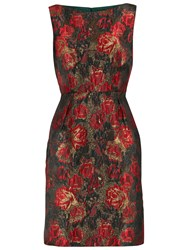Gina Bacconi Matelasse Metallic Sleeveless Jacquard Dress Red Black