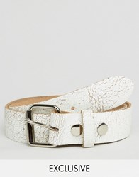 Reclaimed Vintage Cracked Leather Roller Buckle Belt White White