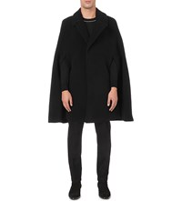 Givenchy Wide Lapel Wool Cape Black