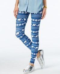 Planet Gold Juniors' Printed Holiday Leggings Blue Polar Bear Combo