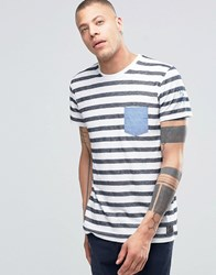 Solid Crew Neck Striped T Shirt With Contrast Pocket And Arm Detail Navy 1998