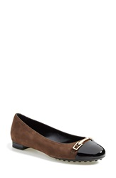 Tod's Cap Toe Ballerina Flat Women Brown Black Suede Patent