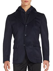 Saks Fifth Avenue Hooded Button Down Jacket Navy