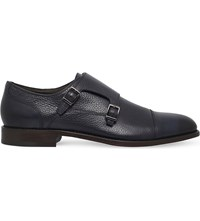 Hugo Boss Bb Stockholm Leather Monk Shoes Navy