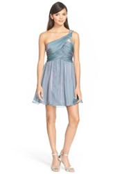 Steppin Out One Shoulder Embellished Skater Dress Juniors Gray