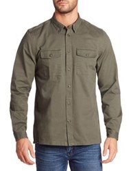Wesc Long Sleeve Cotton Shirt Forest Green