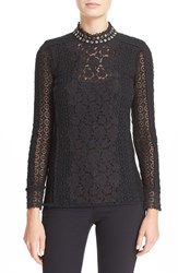Rebecca Taylor Women's Embellished Lace Mock Neck Top