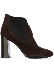 Tod's Chunky Heel Ankle Boots Brown
