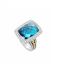 Lagos Prism Large Blue Topaz And Diamond Ring Size 7