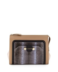 Jason Wu Daphne Watersnake And Leather Clutch Bag Birch Brown