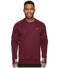Adidas Sport Id Bonded Fleece Pullover Crew Maroon Black White Men's Long Sleeve Pullover Brown
