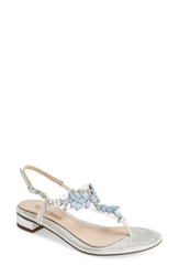 Menbur 'Dolara' Crystal Embellished Satin Thong Sandal Women Blue Lake