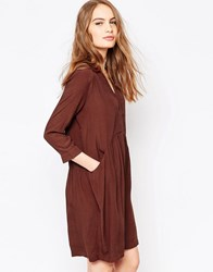 Just Female Lola Smock Dress In Chocolate Chocolate Brown