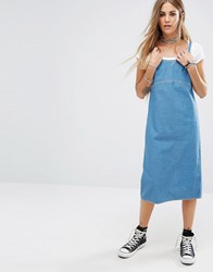 Reclaimed Vintage Vintange Strappy Mid Dress In Light Denim Blue
