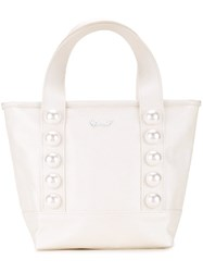 Muveil Pearl Embellished Tote White