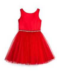 David Charles Open Back Satin And Tulle A Line Dress Red