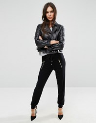 Asos Joggers With Mesh Waistband And Zips Black