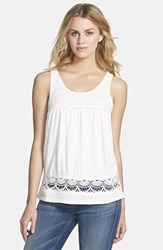 Petite Women's Caslon Boho Lace Trim Tank Ivory Cloud