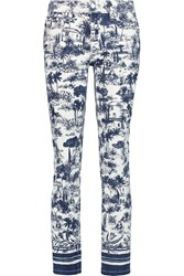 Tory Burch Cropped Mid Rise Printed Straight Leg Jeans White