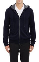 Vince. Cashmere Zip Front Hoodie Blue